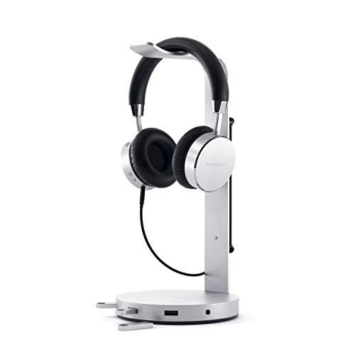 Satechi Aluminum USB Headphone Stand Holder with 3 USB 3.0 Ports & 3.5mm AUX Port - Universal Fit - Compatible with Satechi, Bose, Sony, JBL, Panasonic, AKG (V2, Silver)