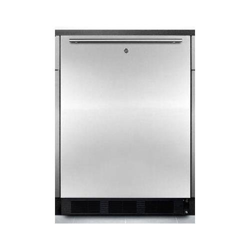 "ALB753LBLSSHH 24"""" Compact ADA Compliant All Refrigerator with 5.5 Cu. Ft. Capacity Automatic Defrost Adjustable Glass Shelves Factory Installed lock Horizontal Handle and Stainless Steel Door"