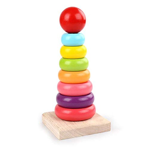 HSCW Children Toy Wooden Rainbow Stacking Toys Educational Toys for Toddler Baby Educational Stacking Toy Rings DIY Stacking Rainbow Tower Toys Interactive Early Learning Toys