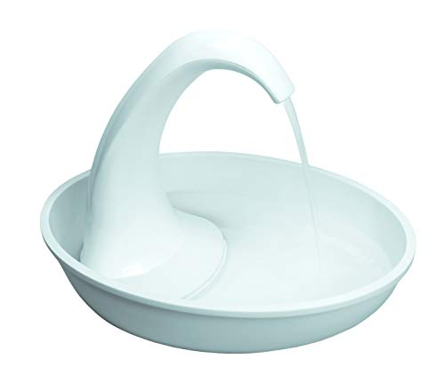 Pioneer Pet Swan Pet Drinking Fountain: 80oz Water Capacity (White Plastic)