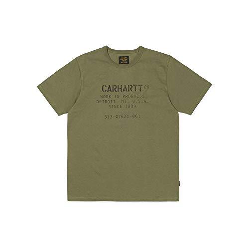 Carhartt S/S Custer ML Font Camiseta, Verde (Rover Green/Black 628), Large para Hombre