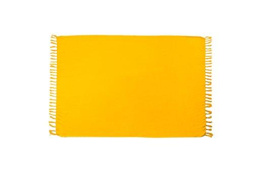 MANUMAR Damen Pareo blickdicht, Sarong Strandtuch in gelb mit Schnalle, einfarbig, Sommer Handtuch 155x115cm, Hippie Sommer Kleid Sauna Hamam Lunghi Bikini Coverup Strandkleid