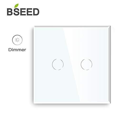BSEED Dimmer Schalter Led Dimmer Touch Lichtschalter 2-fach 1 weg Glas Touch Schalter Weiß Touchscreen-Funktioniert mit dimmer LED-Glühlampen