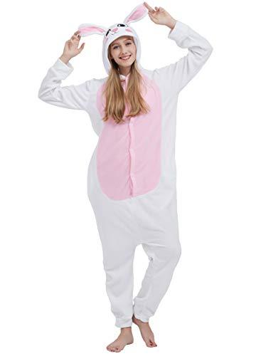 Jumpsuit Onesie Tier Karton Fasching Halloween Kostüm Sleepsuit Cosplay Overall Pyjama Schlafanzug Erwachsene Unisex Lounge, Weiß Hase, Erwachsene Größe M - für Höhe 156-167CM