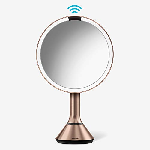 """simplehuman 8"""" Round Sensor Makeup Mirror with Touch-Control Brightness 5x Magnification, Rechargeable and Cordless, Rose Gold Stainless Steel"""