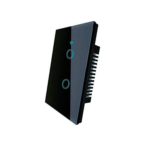 Interruptor apagador inteligente Wifi NO REQUIERE CABLE NEUTRO compatible con Alexa, google home e IFTTT, táctil con panel de vidrio, no requiere HUB 1,2 y 3 Apagadores (2...