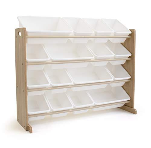 Tot Tutors WO166 Super-Sized Toy Storage Organizer w/ 16 Bin, Universal, Natural/White
