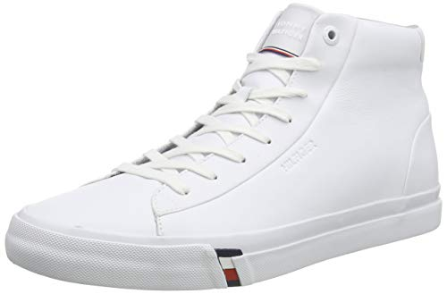 Tommy Hilfiger Herren Corporate HIGH Leather Sneaker, Weiß (White Ybs), 43 EU