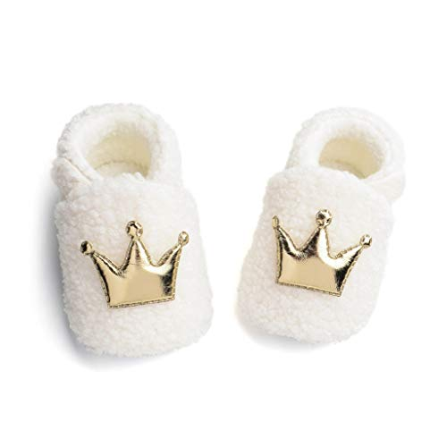 Lanyun Baby Toddler Boys Girls Winter Crown Furry Cotton First Walking Shoes Boots Sneakers 0-12 Months (White, 0-3Months Toddler)