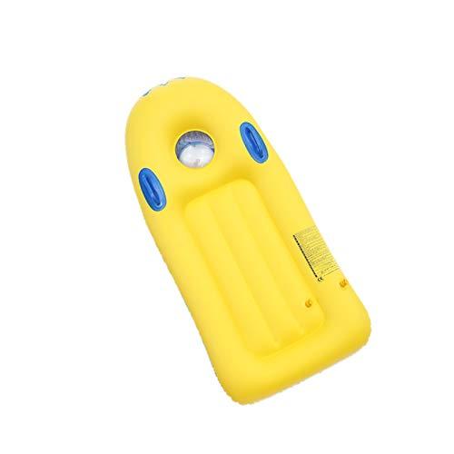 Aufblasbares Surfbrett, Schwimmbett für Kinder, mit Griff Float Surfbrett, Reihenmatte für Kinder Wasserspaß, leichte Schwimmhilfsausrüstung Gelb
