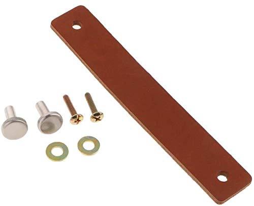 POFET 5 tiradores de puerta de armario nórdico de piel sintética suave para armarios tiradores de cajones y muebles (26 x 125 mm), color marrón claro