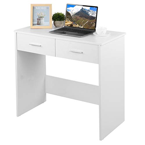 Wakects Escritorio pequeño para ordenador, con 2 cajones, de madera, diseño nórdico, moderno, color blanco, 80 x 40 x 75 cm