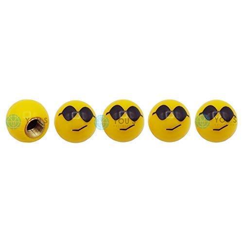 YOU.S Kunststoff Emotion Smileys 'Sonnenbrille' Ventilkappen Gelb mit Dichtung Ventil Kappen Abdeckung für Auto PKW LKW (5 Stück)