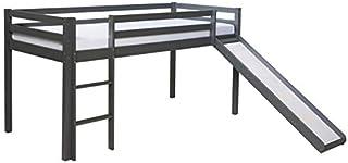 Décoshop26 Lit Mezzanine pour Enfant 90x200cm avec échelle Toboggan en Bois Gris LIT06172