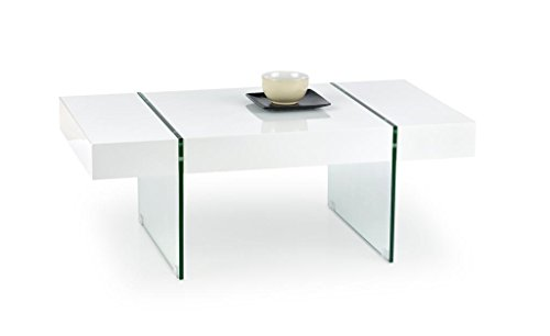 CARELLIA Table Basse Design RECTANGULAIRE Blanc Laque