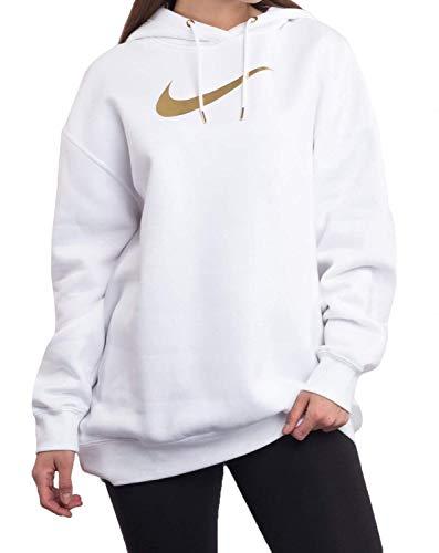 Nike W NSW Funnel 1/2 Zip BB Shine Top met lange mouwen, dames, wit/metallic goud, L