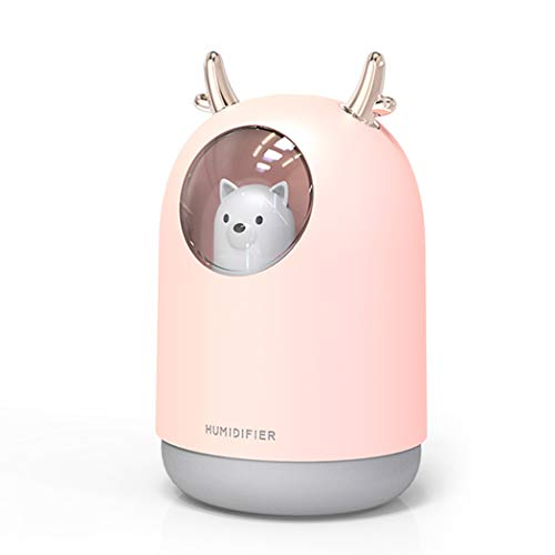 Portable USB Cool Mist Humidifier, 300ML Mini Atomization Humidifier with 7 Colo of LED Light , Desktop Ultrasonic Air Humidifier Suitable for Offices, Bedrooms,Dorm,Car (Pink)