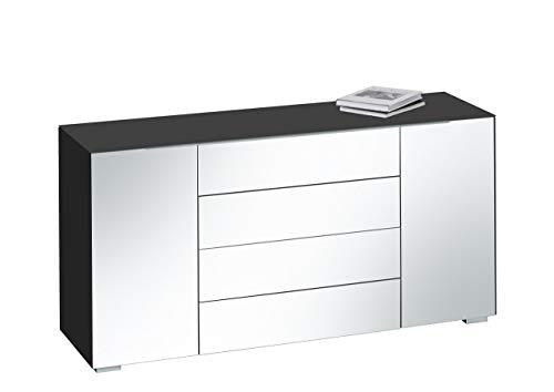 MAJA Möbel Best 7216 Kommode Schwarzglas matt-Grauspiegel, Abmessungen (BxHxT): 159 x 79,40 x 46,20 cm, Glas, 159 x 46,20 x 79,40 cm