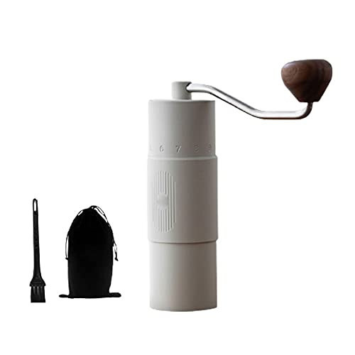 Raxinbang coffee machine Coffee Maker Portable Hand Crank Coffee Maker Coffee Bean Grinder with External Scale Hand Grinder 402 Stainless Steel (Black White) (Color : White)