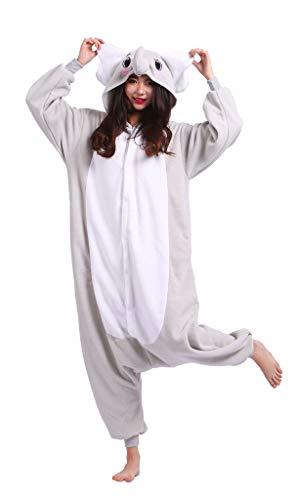 Adultos Animal Pijamas Cosplay Animales de Vestuario Ropa de Dormir Halloween y Carnaval Disfraces Elefante Gris M