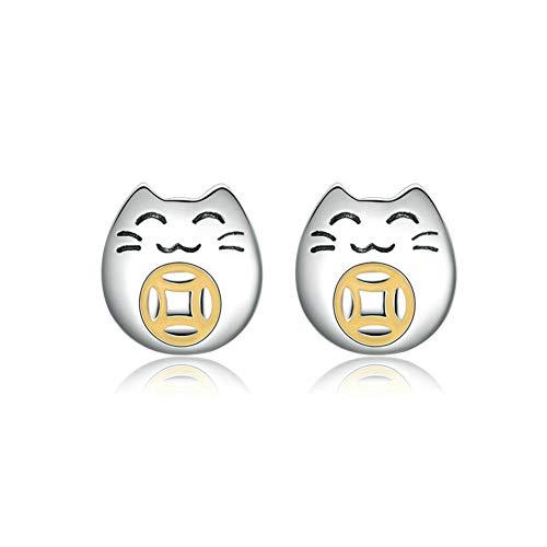 HSUMING Süße Katze Ohrringe für Mädchen, Sterling Silber Weißgold Lucky Kitty Ohrringe Ohrstecker