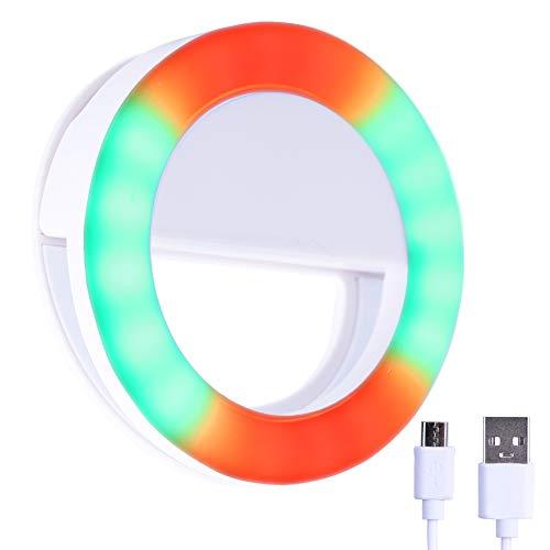 RGB LED Ring Light Selfie Clip, Portable Rechargeable Brightness Adjustable 30 Modes Colorful LED Make UP Video Shooting Light for Smartphones Laptop Notebook