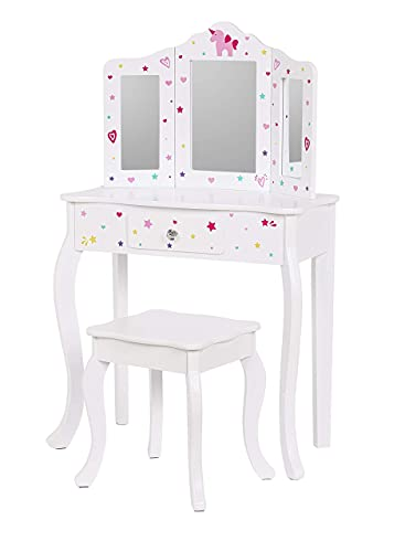 UTEX Pretend Play Kids Vanity Table and Chair Vanity Set with Mirror Makeup Dressing Table with Drawer,Play Vanity Set,White