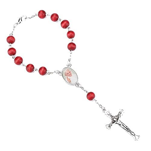 Pulsera De Rosario De Cuentas De Madera Roja Para Mujer, Joyería De Cruz Religiosa