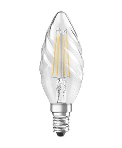 Osram Lot de 2 Ampoules LED à Filament | Culot E14 | Forme Flamme Torsadée | Blanc Chaud 2700K | 4W (équivalent 40W)
