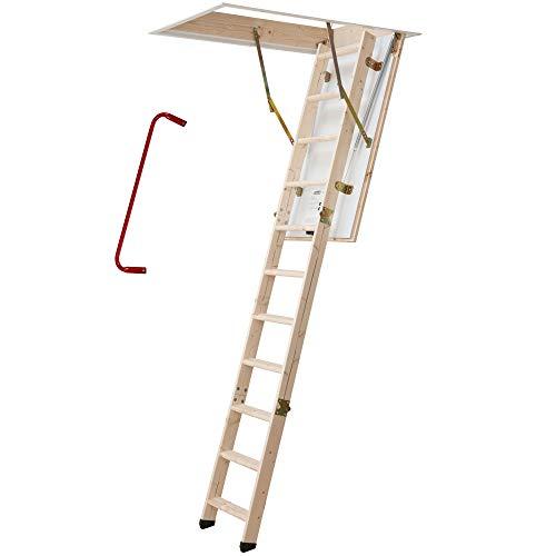 Bodentreppe | wärmegedämmt | U-Wert 1,30 | 130 x 70 cm | 3-teiliges Leiternteil | Lichte Raumhöhe bis 285 cm | Inkl. Bedienstab und Handlauf | 150 kg Traglast | Dachstiege | Dachbodentreppe