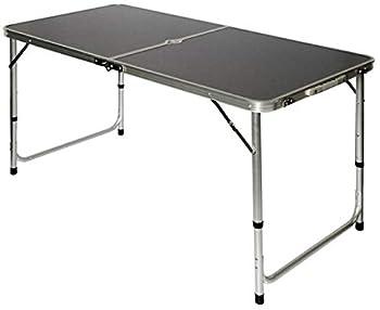 AMANKA Table de Camping Pique-Nique Pliable réglable en Hauteur 120x60x70cm en Aluminium Pliant Format Mallette Gris Foncé