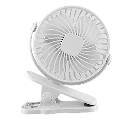 Ventilador recargable mini USB con el clip, clip ajustable portátil en la Tabla Ventilador Ventilador de 2000mA para Buggy cochecitos de niño Oficinas Blanca