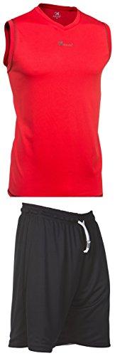 Asioka 184-94/17N Conjunto Baloncesto, Niños, Rojo/Negro, 8-10/3XS