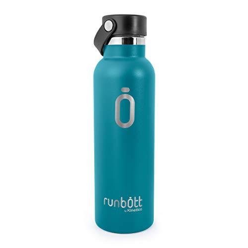 PracticDomus Runbott Sport Botella Térmica 600 ml de Acero Inoxidable 304 con Doble Capa de Vacío e Interior Cerámico. Sin Sabor Metálico. Base de Silicona. Color Esmeralda