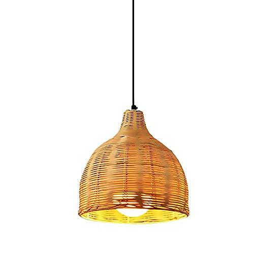 Modeen Candelabro De Bambú E27 Lámpara De Techo De Ratán Ajustable Sala De Té Zen Estilo Chino Casa De Familia Lámpara De Jardín Estilo del Sudeste Asiático Lámpara De De Bambú Tejida Decoración De