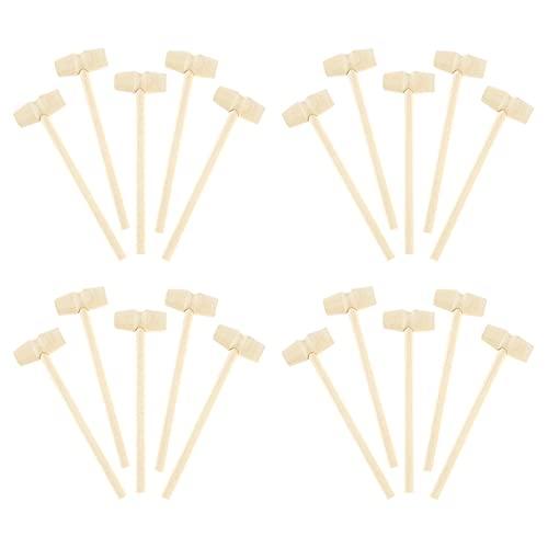 20 piezas Mini martillo de madera 140x42 mm Cangrejo Langosta Mariscos Galletas Bolas Juguete Pounder Repuesto Mazos de madera Niños Pounding Toy-Australia, 20 piezas
