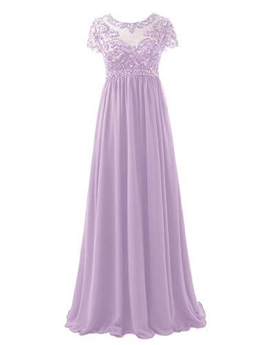 Abendkleider Lang Chiffon Brautmutterkleider Festkleid A-Linie Empire Ballkleid Groß Größe Hochzeits Partykleid Lila 40