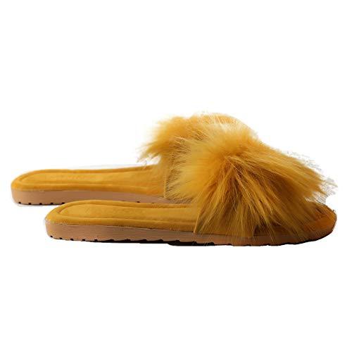 Damen Flach Hausschuhe Schlappen, Sandaletten, Pantoletten, Mules, Sandalen Slipper mit Kunstfell, Farbe:Gelb, Schuhgröße:40