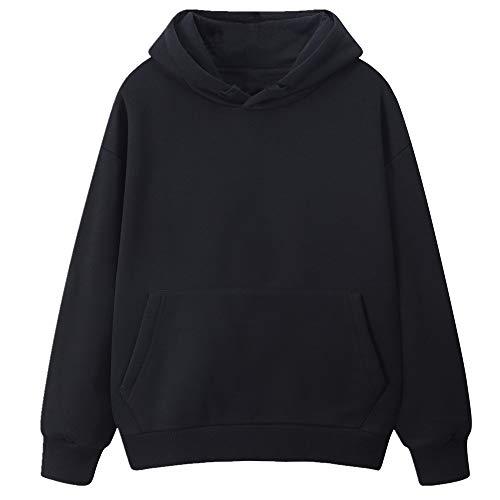 Suéter engrosado de color sólido de manga larga con capucha de felpa para hombres y mujeres