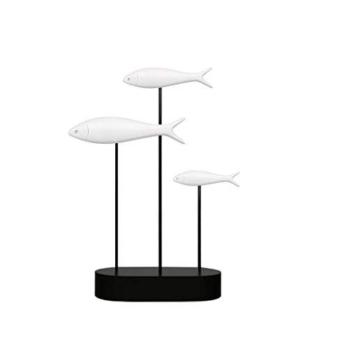 NYDZ Ornaments Escultura moderna de resina simple de pescado decoración del hogar sala de estar entrada TV soporte creativo resina manualidades (color, azul), negro (color: blanco)