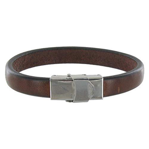 Schmuck Les Poulettes - Mann Armband Leder Dunkelbraun Breite Schließe aus Edelstahl - grobe 19 cm