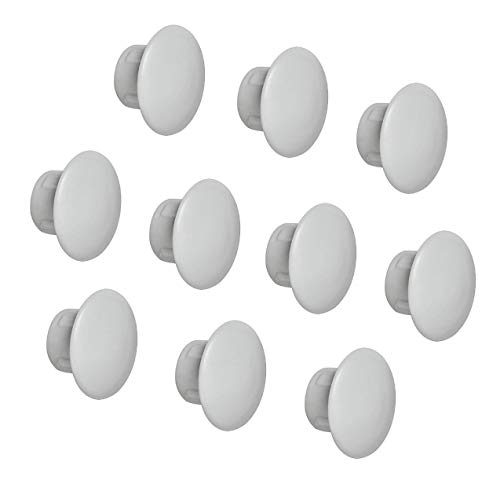 Gedotec Möbel-Abdeckkappen rundlich Schrauben-Kappen rund Blindstopfen zum Eindrücken | H1116 | Ø 8 mm | für Blindbohrung | Kunststoff grau | 100 Stück
