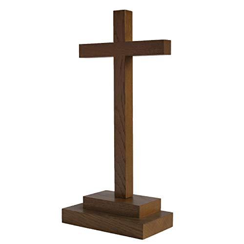 Motivationsgeschenke Holz Kreuz Stehkreuz schlicht Eichenholz 29 cm Dunkelbraun Tischkreuz Versehkreuz Sockel