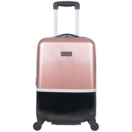 Heritage Travelware Charter Park 20in Lightweight Colorblock Hardside Expandable 4-Wheel Spinner Carry-On Suitcase, Rose Gold/Black