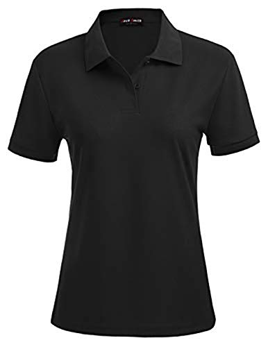 Women's Dry-Fit Polo Shirts 2-Button Fitness Golf Polo's Shirt (XL,Black#18)