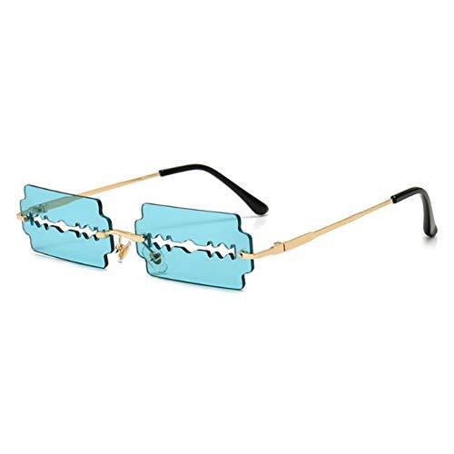 N/A Sonnenbrille Vintage randlose rechteckige Sonnenbrille Frauen lustige Designerin Rot Blau Schwarz Rasierklinge Sonnenbrille Schmale quadratische Brille