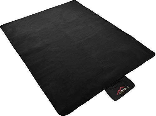 normani Outdoor Campingdecke aus Fleece mit wasserdichtem Bodenmaterial inkl. Tragetasche Farbe Schwarz