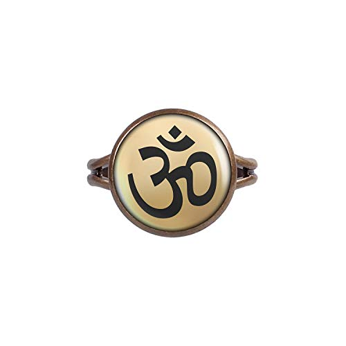 Mylery Ring mit Motiv Om-Zeichen Buddha Hindu Gold Bronze 14mm