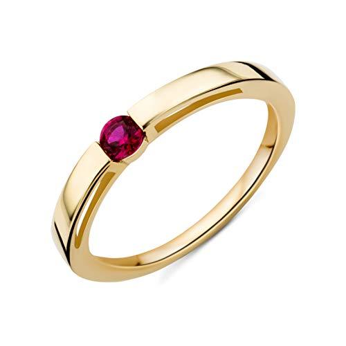 Miore Ring Damen solitär Verlobungsring mit Edelstein/Geburtsstein Rubin in rot aus Gelbgold 9 Karat / 375 Gold, Schmuck