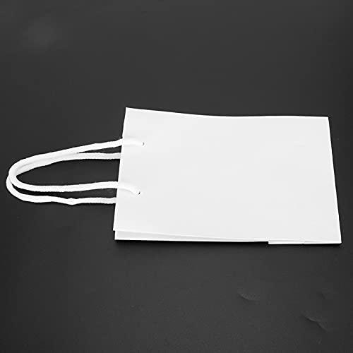 Papierverpackung Einkaufstasche, 10PCs wiederverwendbare Einkaufstüten,Papiertüte Kordelzug Kunsthandwerk Geschenk Handtasche Verpackungswerkzeuge für Kleidung Bestickte Geschenktüte(Weiß)